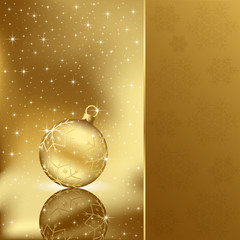 Elegant christmas background with golden ball