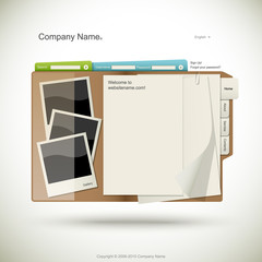 Website design template, folder with paper and photo cards