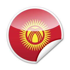 Pegatina bandera Kirguistan con reborde