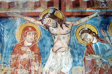 Ancient fresco in Ghelinta (Gelence) church. Transylvania