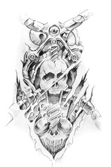 Wall Mural - Tattoo art, sketch of a machine and skull