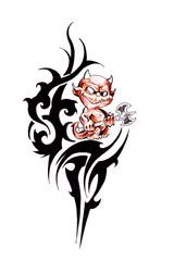 Fototapete - Tattoo art, sketch of a tribal and little devil