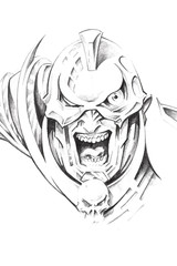 Tattoo art, sketch of a fantasy warrior