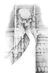 Wall Mural - Tattoo art, sketch of hell gate
