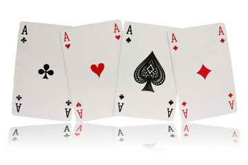 four aces playing cards suits on white background