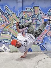 Breakdancer handstanding