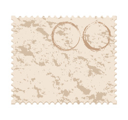 vecto. blank grunge post stamp on white background