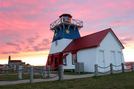 Grande Anse Lighthouse at sunset, New Brunswick