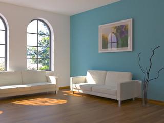 Sofa Rendering Sonne türkis