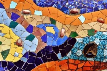 Detail of mosaic in Guell park in Barcelona