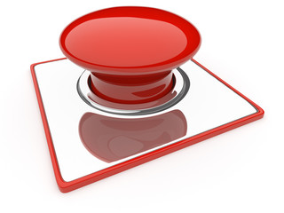 Red Button isolated over white background. Danger