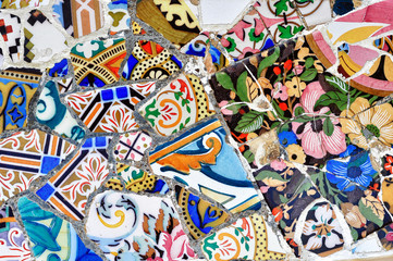 Poster de jardin Graffiti collage Gaudi mosaic in Guell park in Barcelona, Spain
