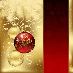 Elegant background with three Christmas balls