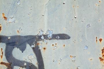 Full Frame Peeling Gray Paint Rust Spots Metal Surface, Graffiti