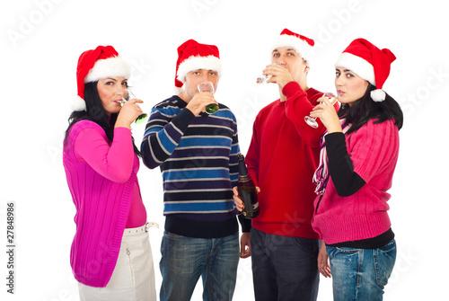 Fotos Cena Navidad Frinsa.Christmas Friends Drinking Champagne Stock Photo And