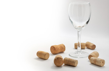 Wineglass with corks