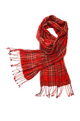 Red cheskered scarf isolated on white
