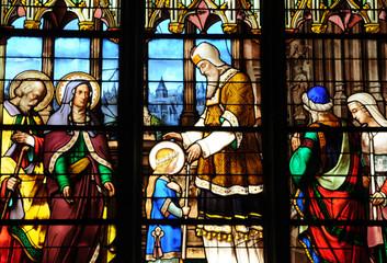 Foto op Plexiglas Stained collégiale Saint Aubain à Guérande en Bretagne
