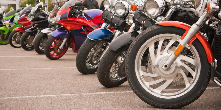 Motorcycles Parking In A Row