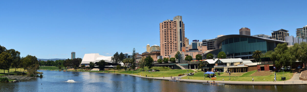 A panoramic view of the Adelaide skyline from the River Torrens.