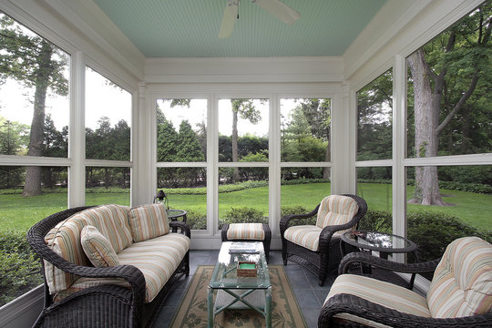 Porch with wicker furniture