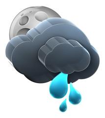Moon and cloud with medium rain.