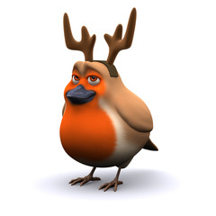 3d Robin dressed as a reindeer...