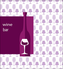 menu template for bar-bottle of wine and glass