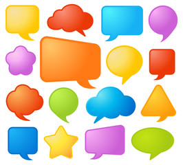 Collection of various shapes and colors comic speech bubbles