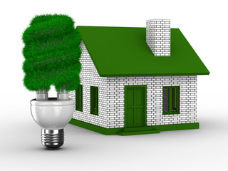 Power efficiency of house. Isolated 3D image