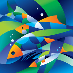 Abstract fishes in the depths of the ocean