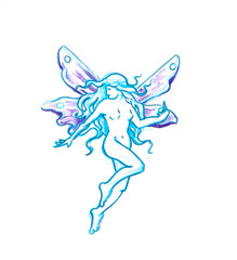 Tattoo art, sketch of a fairy