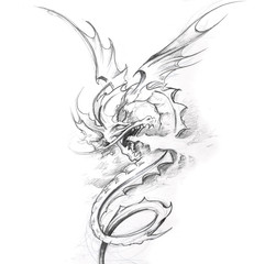 Wall Mural - Tattoo art, sketch of a medieval dragon