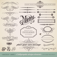 vector set: calligraphic elements and page decoration