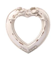 vintage heart-shaped white photo frame