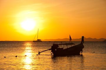 Long tailed boat at Ao Nang beach, south of Thailand..
