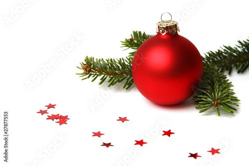 weihnachtskugel rot mit tannenzweig stockfotos und lizenzfreie bilder auf bild. Black Bedroom Furniture Sets. Home Design Ideas