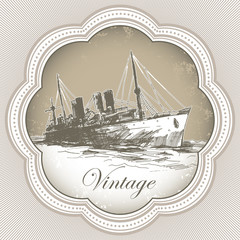 Vintage banner with old ship.