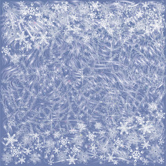 Background with snowflakes and frosty patterns