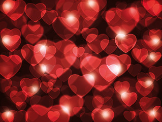 Beautiful red transparent hearts