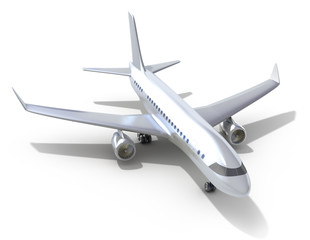 Airplane on white background. 3D image. My own design.
