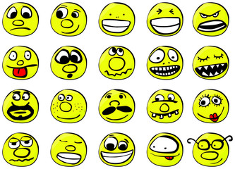 Set of cool smilies. Vector illustration, isolated on a white.