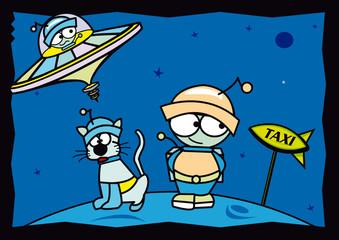 personnage planète espace soucoupe