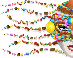 Maschera di Caramelle-Candies Carnival Mask Background-2-Vector