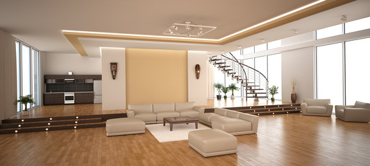 Obraz Modern interior of a drawing room - fototapety do salonu