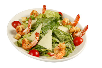 Salad with shrimp grill, mixed vegetables and cheese