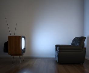 side view of tv and couch