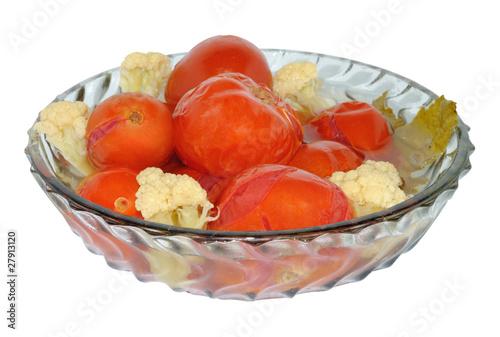 маринованные помидоры с капустой цветной