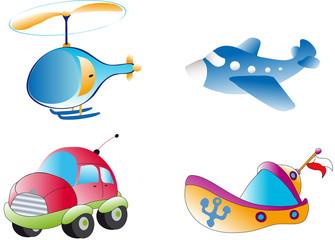 helikopter - statek - auto