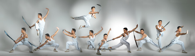 Chinese Man Practising Martial Arts isolated background